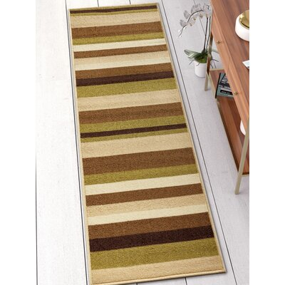 Covey Stripes Green/Ivory Area Rug Rug Size: Runner 2 x 7