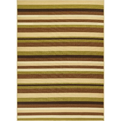 Covey Stripes Green/Ivory Area Rug Rug Size: Rectangle 5 x 7