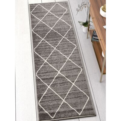 Franck Moroccan Trellis Gray Area Rug Rug Size: Runner 2 x 7