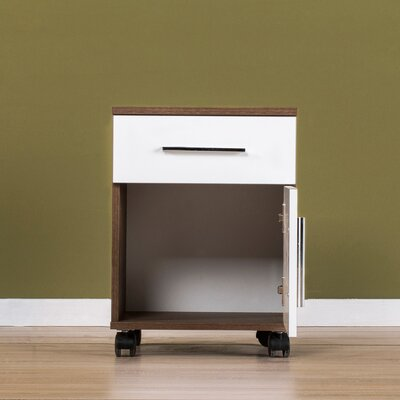 OToole 1 Drawer Nightstand Color: Walnut / High Gloss White