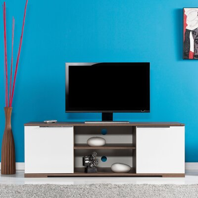 Matthiopoulos 55 TV Stand Color: Walnut / High Gloss White
