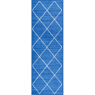 Franck Moroccan Trellis Blue Area Rug Rug Size: Runner 27 x 12