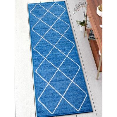 Franck Moroccan Trellis Blue Area Rug Rug Size: Runner 2 x 7
