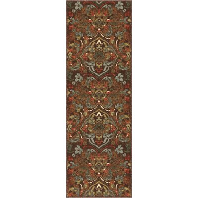 Josephine Traditional Floral Brown Area Rug Rug Size: Runner 27 x 12