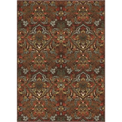 Josephine Traditional Floral Brown Area Rug Rug Size: Rectangle 33 x 47