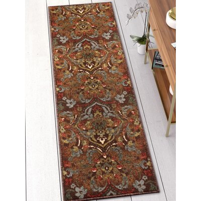 Josephine Traditional Floral Brown Area Rug Rug Size: Runner 2 x 7