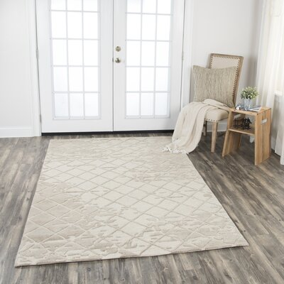 Lovelace Hand-Woven Wool Beige Area Rug Rug Size: Rectangle 8 x 10