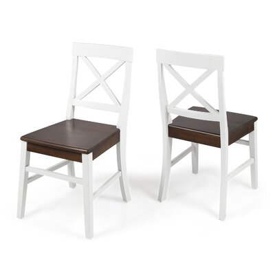 Hitz Dining Chair Color: White/Walnut