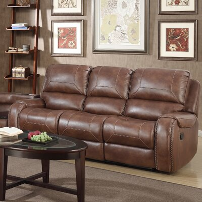 Stampley Leather Air Nailhead Manual Reclining Sofa with Storage Console and USB Port