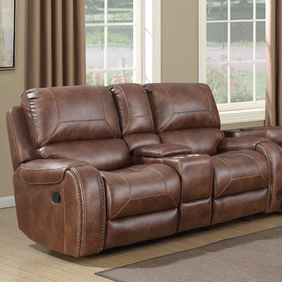 Stampley Leather Air Nailhead Manual Reclining Loveseat with Storage Console