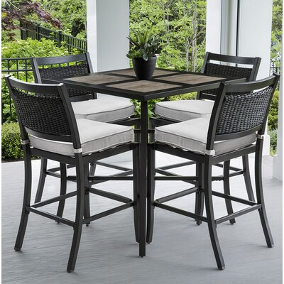Dreketi Aluminum and Porcelain Square Bar 5 Piece Pub Table Set