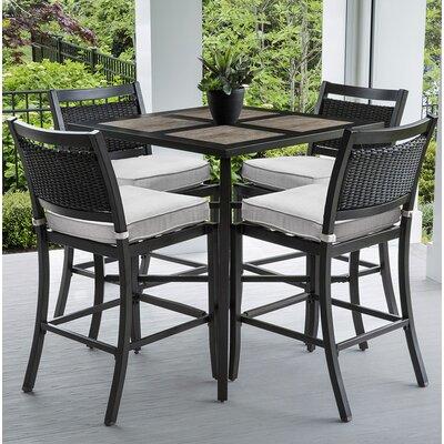 Dreketi Aluminum and Porcelain Square Bar 5 Piece Pub Table Set
