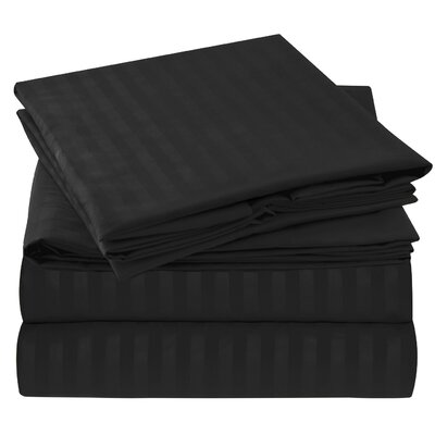Hisle Stripe Microfiber Sheet Set Size: Queen, Color: Black