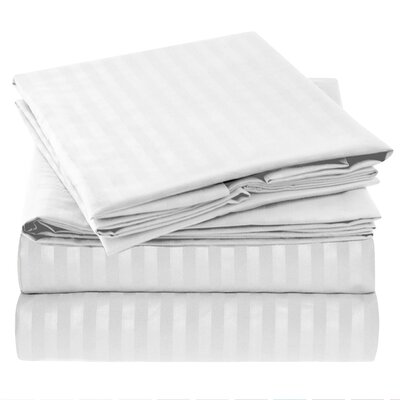 Hisle Stripe Microfiber Sheet Set Size: King, Color: White