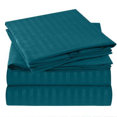 Hisle Stripe Microfiber Sheet Set Size: Full/Double, Color: Teal