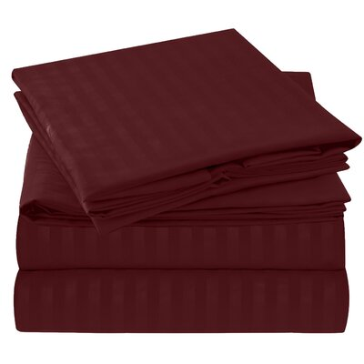 Hisle Stripe Microfiber Sheet Set Size: Full/Double, Color: Burgundy