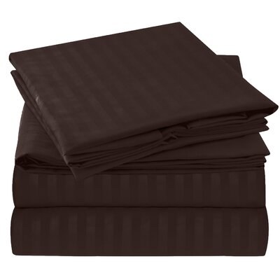 Hisle Stripe Microfiber Sheet Set Size: Full/Double, Color: Chocolate