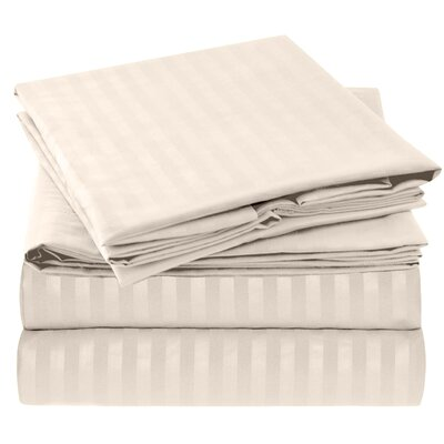 Hisle Stripe Microfiber Sheet Set Size: King, Color: Cream