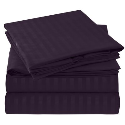 Hisle Stripe Microfiber Sheet Set Size: King, Color: Purple