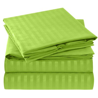 Hisle Stripe Microfiber Sheet Set Size: King, Color: Garden Green