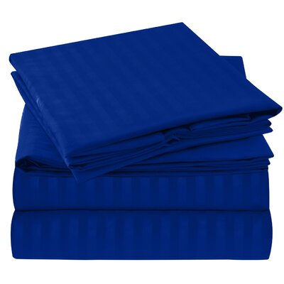 Hisle Stripe Microfiber Sheet Set Size: Full/Double, Color: Royal Blue
