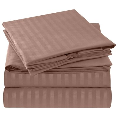 Hisle Stripe Microfiber Sheet Set Size: King, Color: Taupe