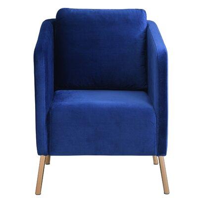 Helsel Velvet Armchair Upholstery: Navy