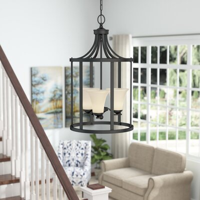 Bushmills 3-Light Foyer Pendant Finish: Blacksmith, Shade Color: Caf�
