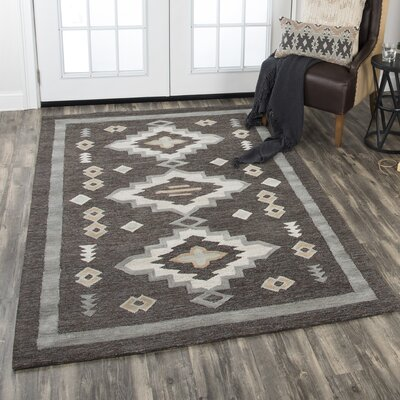 Crescent Hand-Tufted Wool Charcoal Area Rug Rug Size: Rectangle 5 x 8