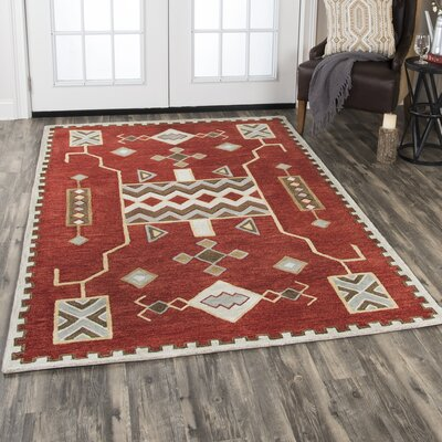 Potts Hand-Tufted Wool Red Area Rug Rug Size: Rectangle 8 X 11