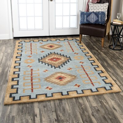 Potts Hand-Tufted Wool Light Blue Area Rug Rug Size: Rectangle 10 x 13