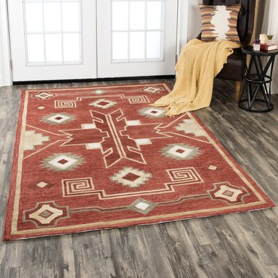 Potts Hand-Tufted Wool Red Area Rug Rug Size: Rectangle 10 x 13