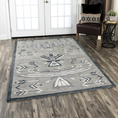 Crescent Hand-Tufted Wool Gray Area Rug Rug Size: Rectangle 8 X 11