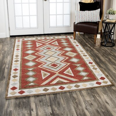 Potts Hand-Tufted Wool Red Area Rug Rug Size: Rectangle 5 x 8