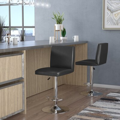 Compton Martin Adjustable Height Swivel Bar Stool (Set of 2) Upholstery: Black