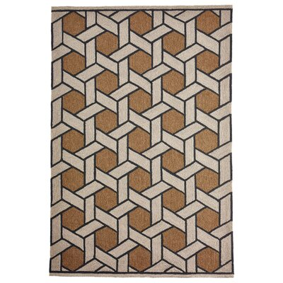 Enoch Basket Hand-Woven Camel/Light Gray Indoor/Outdoor Area Rug Rug Size: Rectangle 5 x 76