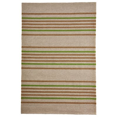 Mansfield Stripe Hand-Woven Brown/Green Indoor/Outdoor Area Rug Rug Size: Rectangle 5 x 76