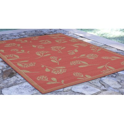 Hunley Flower Rust/Beige Indoor/Outdoor Area Rug Rug Size: Rectangle 33 x 411