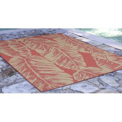 Hunley Banana Leaf Rust/Beige  Indoor/Outdoor Area Rug Rug Size: Rectangle 410 x 76