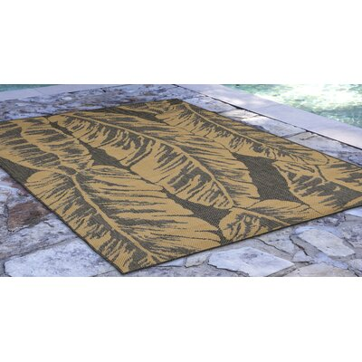 Hunley Banana Leaf Gray/Beige Indoor/Outdoor Area Rug Rug Size: Rectangle 710 x 910