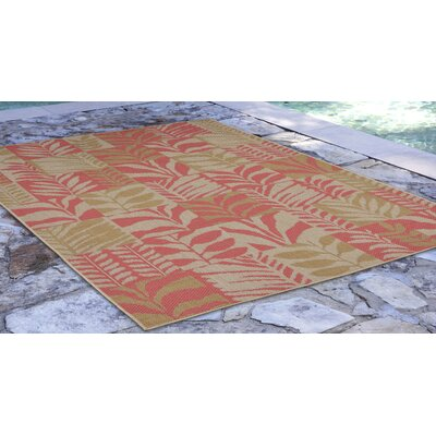 Hunley Leaves Rust/Beige Indoor/Outdoor Area Rug Rug Size: Rectangle 410 x 76