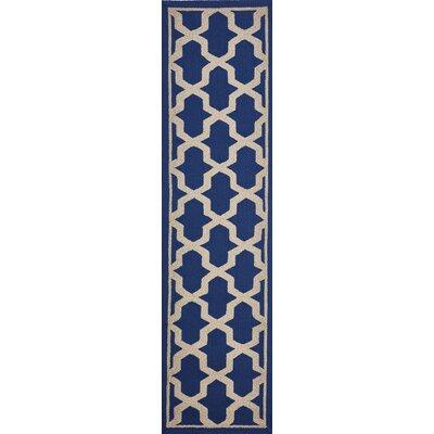 Enoch Geometric Hand-Woven Marine Blue Indoor/Outdoor Area Rug