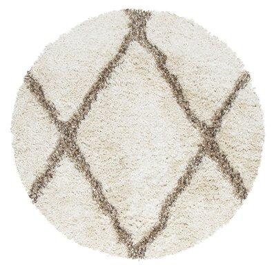 Mathena Shag Hand-Woven Ivory Area Rug Rug Size: Round 3