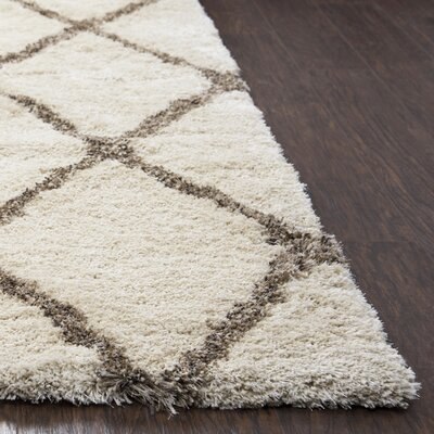 Mathena Shag Hand-Woven Ivory Area Rug Rug Size: Rectangle 9 x 122