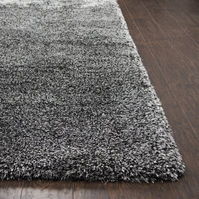Mathena Shag Hand-Woven Black Area Rug Rug Size: Rectangle 9 x 122
