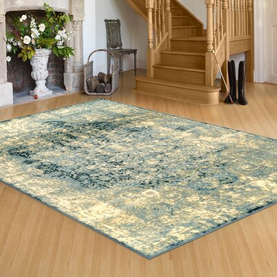 Peters Beige/Blue Area Rug Rug Size: Rectangle 5' x 8'