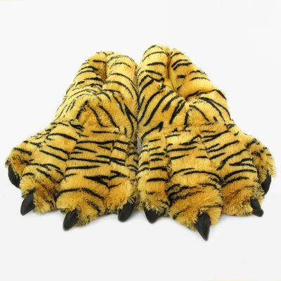 2 Piece Furry Bengal Tiger Slipper Set Size: Large