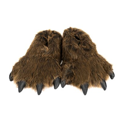 2 Piece Furry Grizzly Bear Slipper Set Size: Small