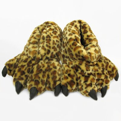 2 Piece Furry Leopard Slipper Set Size: Large