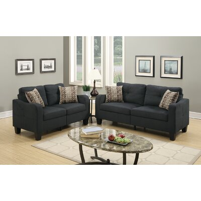 Dreer 2 Piece Living Room Set Upholstery: Black